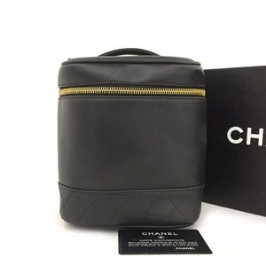 CHANEL CC Logo Leather Cosmetic Travel Bag